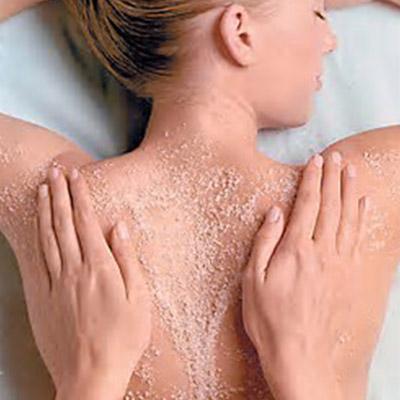 Salt scrub leaves skin feeling smooth.